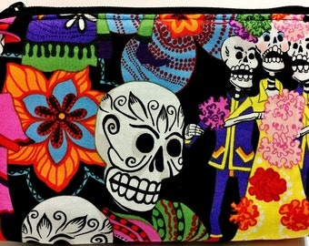 Day of the Dead Skeletons Skulls Floral - Makeup, Multi-Use, Pouch, Electronics, Supplies, zipper, Case, Cozy