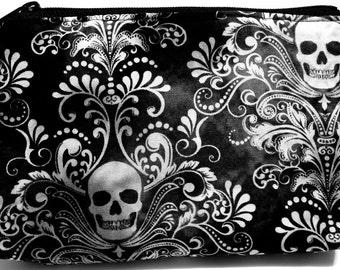 Black White Gray Damask Skulls - Makeup, Multi-Use, Pouch, Electronics, Supplies, zipper, Case, Cozy