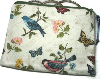 Padded Zipper Cosmetic Pouch in Vintage Postcards Bird Print