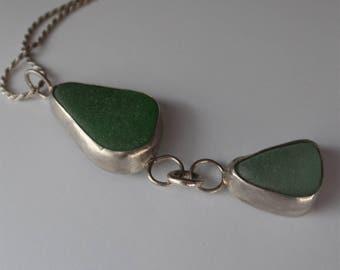 Genuine Sea glass, mermaid tears, sterling silver pendant necklace