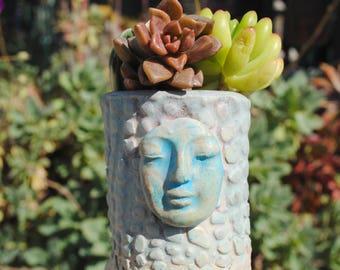 ceramic planter pot tiny garden buddha head vase