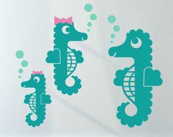 Seahorse Wall Decals Ocean Underwater Baby Nursery Kids Under the Sea Aquarium Cute Sea Horses Beach Nautical Room Decor