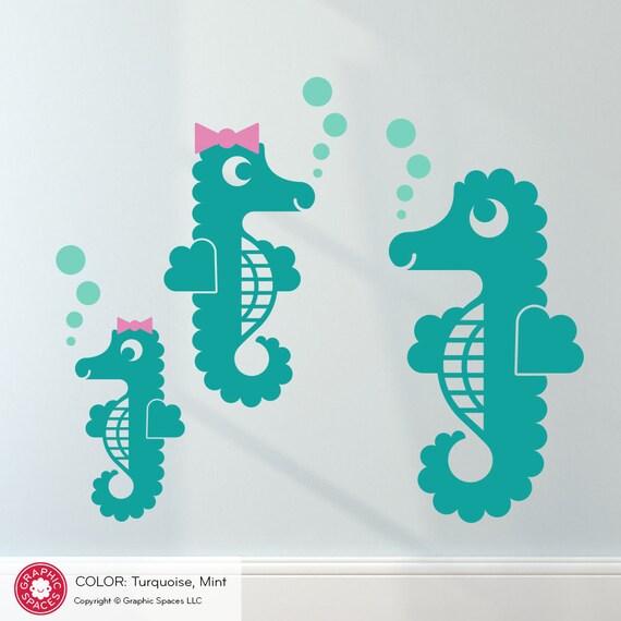 Ocean Wall Decor For Nursery : Seahorse wall decals ocean underwater baby nursery kids under