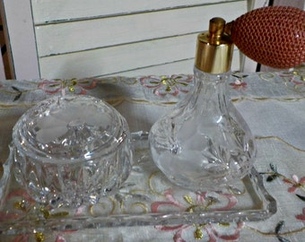 Oh so CHIC and Very ELEGANT - Vintage Princess House Crystal Vanity set - 4 pieces -   1980 Era - Made in Germany