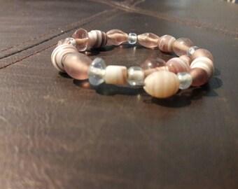 Glass beaded bracelet on memory wire.