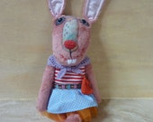 ReSERVED FOR TRACY Funny  bunny girl ,dressed,  stuffed plush toy, hare, Easter bunny