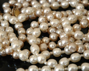 Miriam Haskell Legacy Pearls, Vintage Bride, 2 Necklaces, 8mm Japanese Baroque, Seed Pearl Spacers, Wear Long Short Layered, Like New
