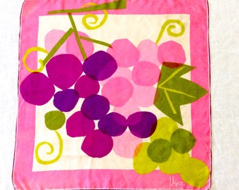 Vera Silk Scarf Purple Grapes Lime Green Hot Pink