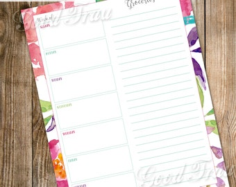 Weekly menu planner, instant download printable PDF, pretty watercolor florals