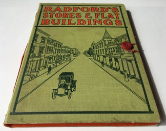 "Vintage Sketchbook, Upcycled Book Journal, mixed media paper, Large Journal with antique cover ""Radford's Stores & Buildings"""