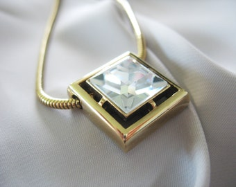 Square Rhinestone Pendant Necklace Avon 1970s Gold Tone Clear Snake Chain Choker