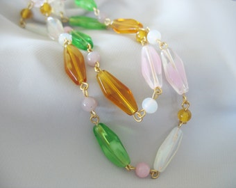 Glass Beaded Necklace, Swirled Glass, Amber, White, Green, Pink, Gold tone, 1960's, long strand