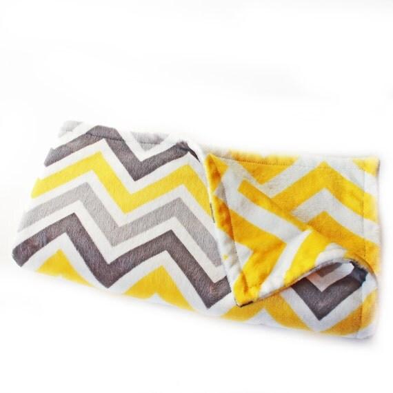 Minky Baby Blanket Boy or Girl,  Yellow Gray Chevron// 30 in Ready to Ship