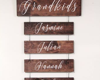 Personalized Rustic Grandkids Sign