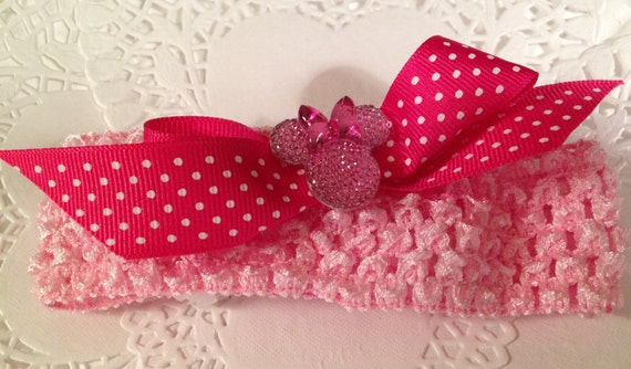 Minnie Garter Disney Inspired Wedding Pink Polka Dot Headband Mouse Ears