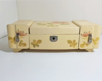 Vintage Shabby Chic Painted Jewelry Box