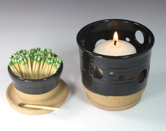 Ceramic Match Striker Set  Fireplace accessories  and candle holder In Black Stock Ready to Ship