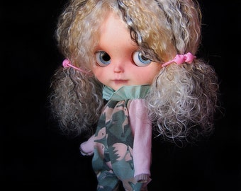 "MEGA CARNIVAL SALE!!!! Custom Blythe Original Varsity Dean doll mohair rerooted ""Pipa"" by Fausto & Gretchen. Layaway accepted."