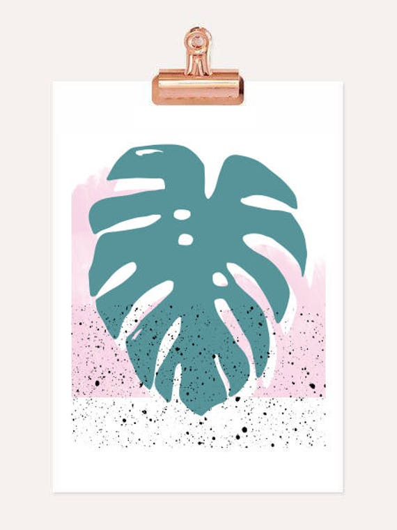 DOUX PRINTEMPS the leaf // Abstract art, 12x18, minimalist art print Monstera leaf, Scandinavian style, nordic design, pink