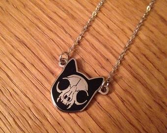 Tiny cat skull charm necklace