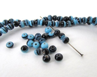 Striped Glass Beads Blue Black Stripe Rounds 4mm to 5mm vgb1149 (50)