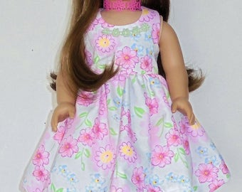 Spring or Summer dress designed for American Girl 18 inch doll   No. 698