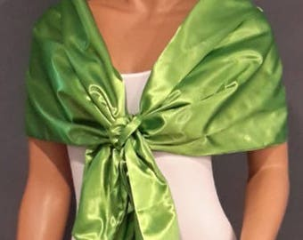 Satin pull thru wrap wedding shawl scarf cover up long shrug bridal evening stole prom capelet SW101 AVL IN apple green and 18 other colors