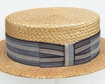 """23 1/2"""" - Vintage Men's Straw Boater Hat"""