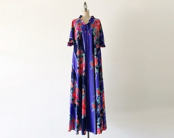 Vintage 1970s Colorful Floral Oversized Short Sleeve Midi Dress - L