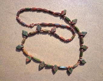Unachite Necklace, Hand Cut Gemstones and Bright Copper Beads, 24 Inches, Emotional Protection Stone, Healing Stone, Nature Stone