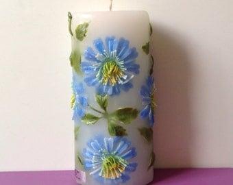Vintage Retro 70's Candle Big Blue Plastic Flowers Very Unique