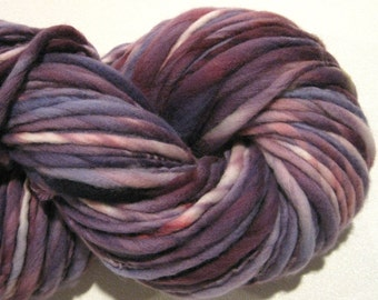 Super Bulky Handspun Yarn Amethyst 124yards hand dyed wool purple yarn violet yarn waldorf doll hair knitting supplies crochet supplies