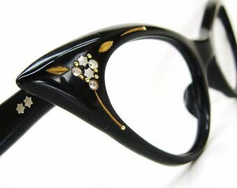 Vintage 50s France Rhinestone Cat eye Glasses Frame