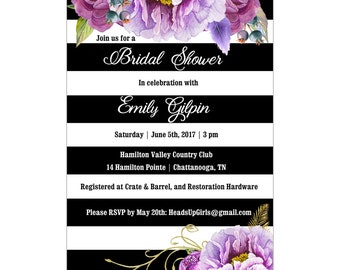 Personalized Wedding Bridal Shower Invitations and Envelopes One Dozen Printed with Purple Flowers on Black NVB001