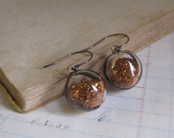 Copper Glass Glitter Crystal Ball Earrings