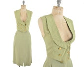 1940s vest and skirt suit / plaid vest and skirt set / 40s yellow and green suit .. xxs / xs