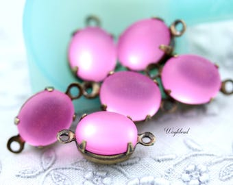 Frosted Matte Oval Set Stones Earring Drop Connector Closed Back Brass Prong Settings Magenta Pink 10x8mm - 6