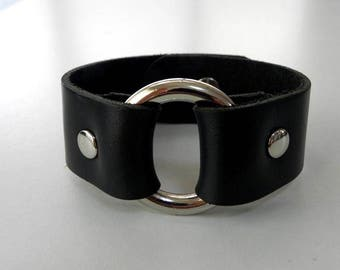 Black Leather Bracelet Leather Cuff Leather Bangle with Metal O Ring