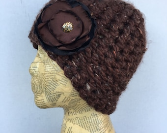 Crocheted Beanie Hat in Brown Tweed with Removable Brown and Black Fabric Flower Pin