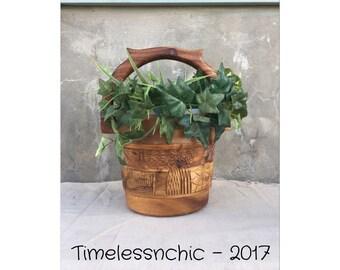 Ice Bucket - Vintage Ice Bucket - Wooden Ice Bucket - Wood Ice Bucket - Succulent Planter - Wine Bucket - Wine Chiller - Jungalow Decor