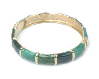 Green Enameled Bangle Bracelet Hinged Three Shades Green