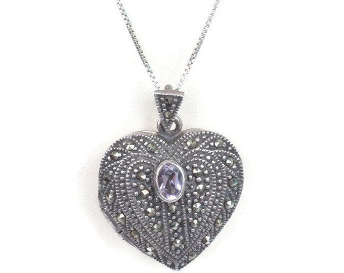 Marcasite Amethyst Sterling Heart Locket Necklace 18 Inch Chain Vintage