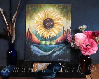 An original unframed painting titled 'Autumn Equinox'. Now in a SALE