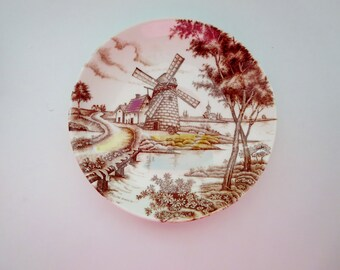 Vintage Windmill Saucer - Windmill Dutch Scene Saucer Made by Holland House In Japan