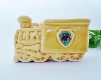 Vintage Ceramic Train Engine Planter - Miniature Steam Engine Toothpick Holder or Planter Las Vegas Souvenir
