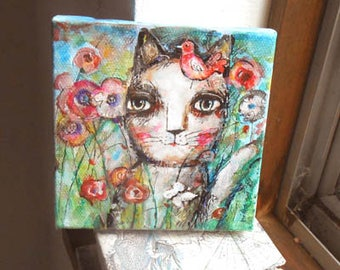 Original Painting on canvas    Kitty  with flowers  OOAK by miliaart studio