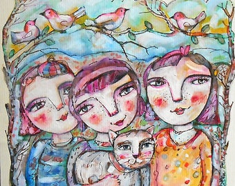 Original Painting Three little Sisters with Mitzy Cat  OOAK by miliaart studio