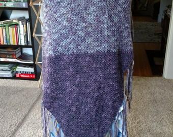 Purple color fade crochet shawl wrap