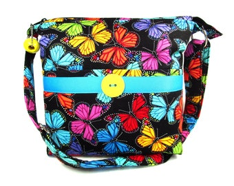 Colorful Butterflies Handmade Cross Body Fabric Purse / Matching Glasscase