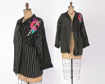 Vintage 80s COTTON Jacket / 1980s Guatemalan Woven Oversized Jacket